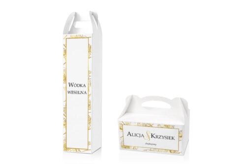 Zestaw pudełko na ciasto i alkohol pasujący do zaproszeń w pudełeczku - wzór 6