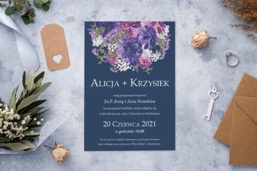 Zaproszenie ślubne - Kolorowe Bukiety - wzór 1