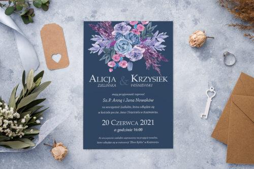 Zaproszenie ślubne - Kolorowe Bukiety - wzór 3