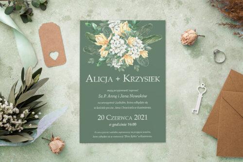Zaproszenie ślubne - Kolorowe Bukiety - wzór 4