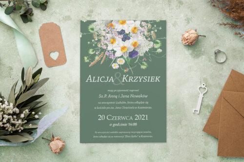 Zaproszenie ślubne - Kolorowe Bukiety - wzór 5