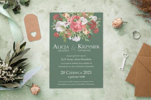 Zaproszenie ślubne - Kolorowe Bukiety - wzór 6