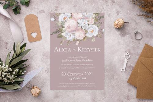 Zaproszenie ślubne - Kolorowe Bukiety - wzór 7