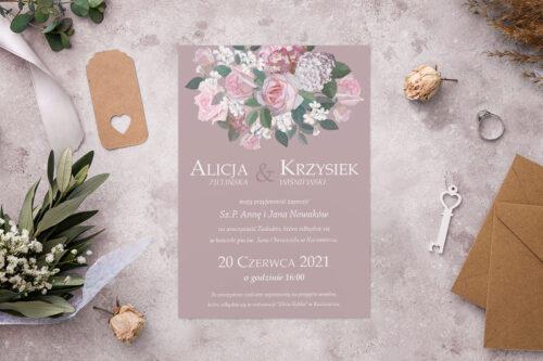 Zaproszenie ślubne - Kolorowe Bukiety - wzór 9