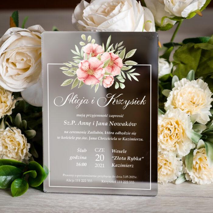 Zaproszenie ślubne na pleksie - wzór 10