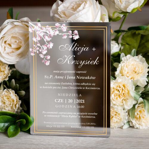 Zaproszenie ślubne na pleksie - wzór 11