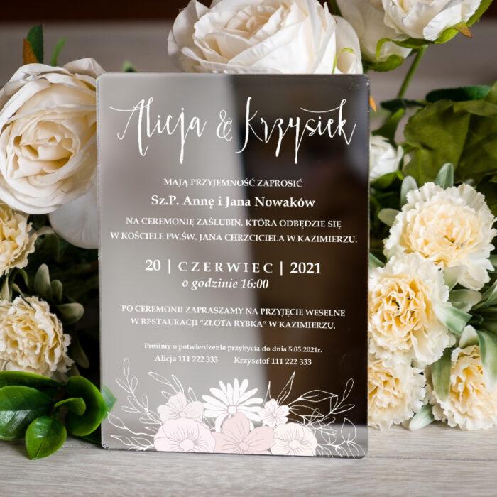 zaproszenie ślubne na pleksie srebrnej z gałązką