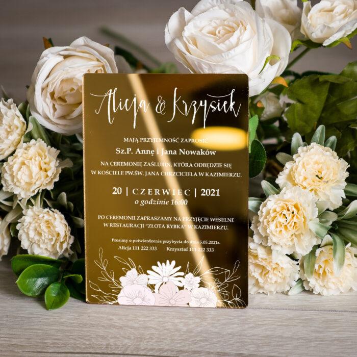 zaproszenie ślubne na pleksie złotej z gałązką