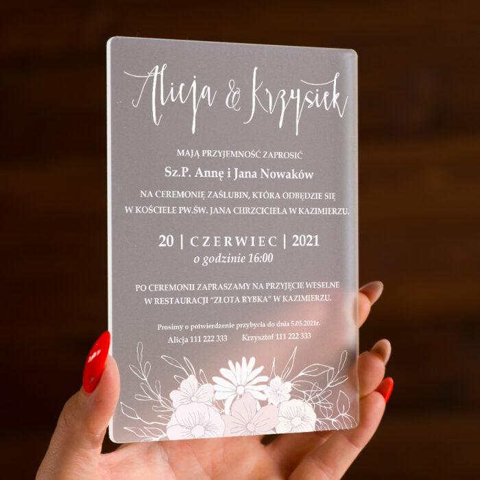 zaproszenie ślubne na pleksie z gałązką