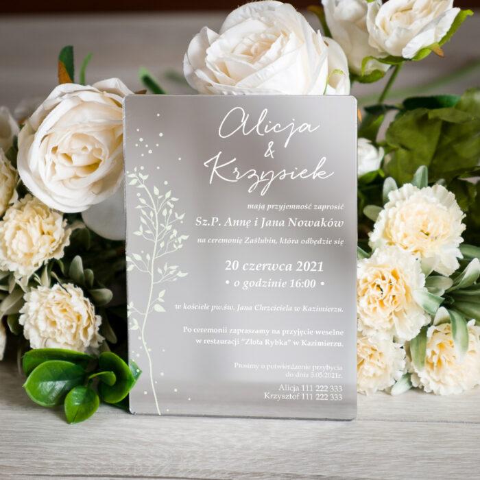 Zaproszenie ślubne na pleksie - wzór 14