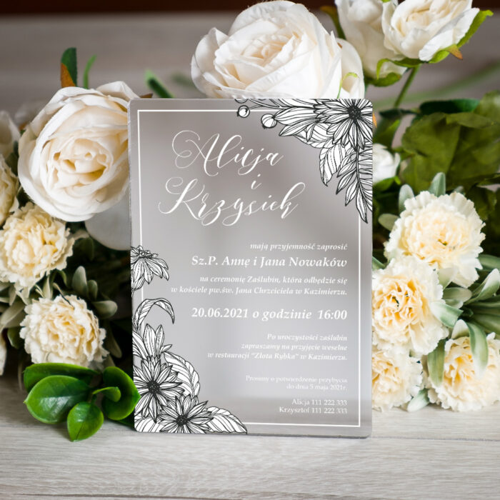 Zaproszenie ślubne na pleksie - wzór 2