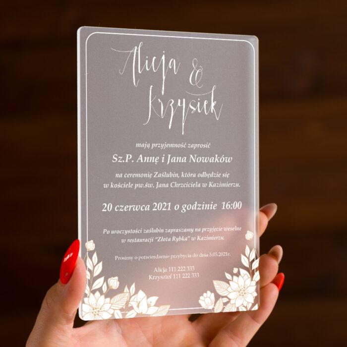 Zaproszenie ślubne na pleksie - wzór 3