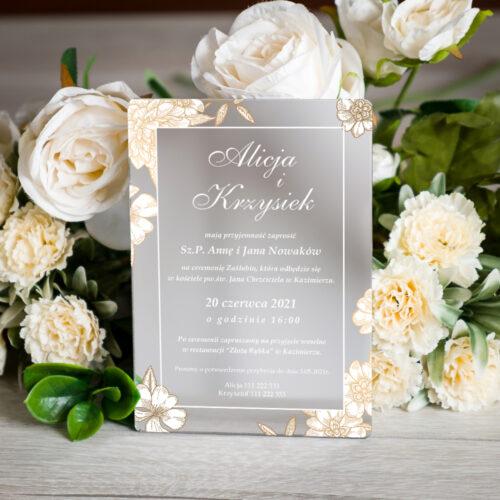 Zaproszenie ślubne na pleksie - wzór 5