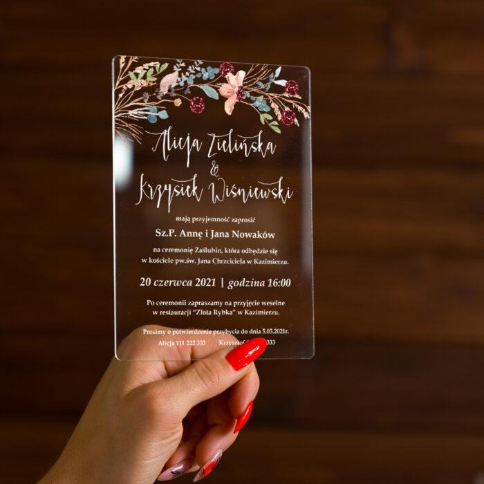 Zaproszenie ślubne na pleksie - wzór 8