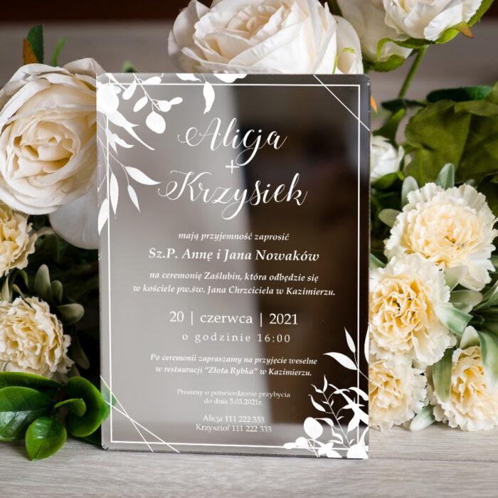 Zaproszenie ślubne na pleksie - wzór 9