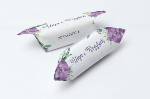 Krówki ślubne 1 kg do zaproszenia Jednokartkowe Recyklingowe - Fioletowy bukiet