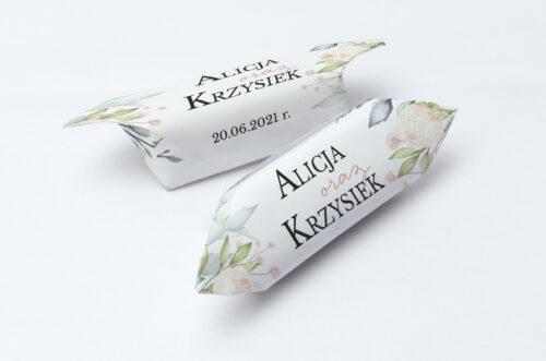 Krówki ślubne 1 kg do zaproszenia Jednokartkowe Recyklingowe - Róż i fiolet