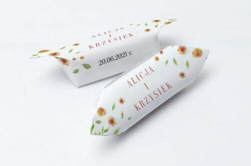 Krówki ślubne 1 kg do zaproszenia Jednokartkowe Recyklingowe - Rozrzucone kwiaty