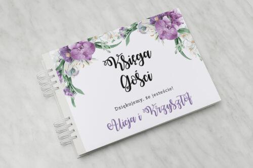 Księga gości ślubnych do zaproszenia Jednokartkowe Recyklingowe - Fioletowy bukiet