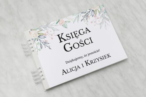 Księga gości ślubnych do zaproszenia Jednokartkowe Recyklingowe - Róż i fiolet