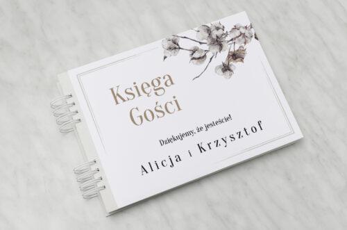Księga gości ślubnych do zaproszenia Jednokartkowe Recyklingowe - Kwiaty bawełny