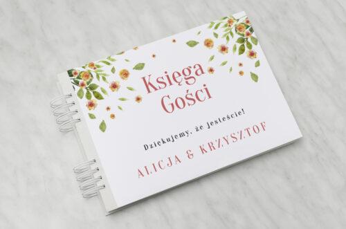 Księga gości ślubnych do zaproszenia Jednokartkowe Recyklingowe - Rozrzucone kwiaty