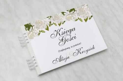Księga gości ślubnych do zaproszenia jednokartkowe - Białe róże