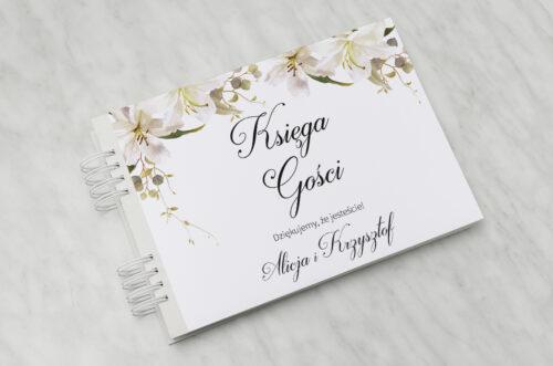 Księga gości ślubnych do zaproszenia Jednokartkowe Recyklingowe - Eleganckie lilie