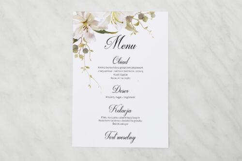 Menu weselne do zaproszenia Jednokartkowe Recyklingowe - Eleganckie lilie