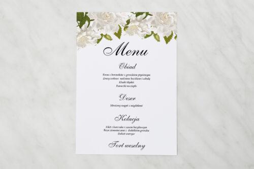Menu weselne do zaproszenia jednokartkowe - Białe róże