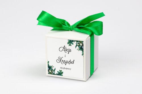 pudełko na krówki z personalizacją w zielone sukulenty
