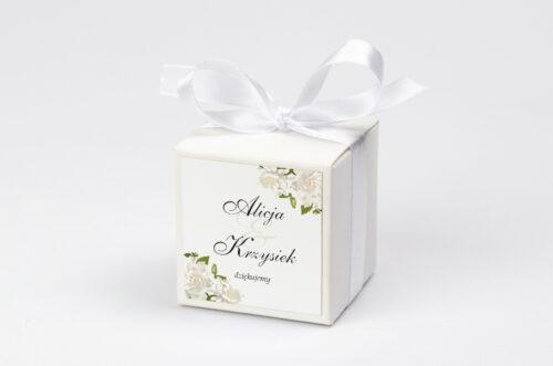 Pudełeczko z personalizacją do zaproszenia jednokartkowe - Białe róże