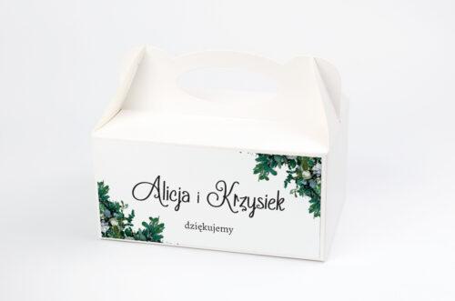 pudełko na ciasto w zielone sukulenty