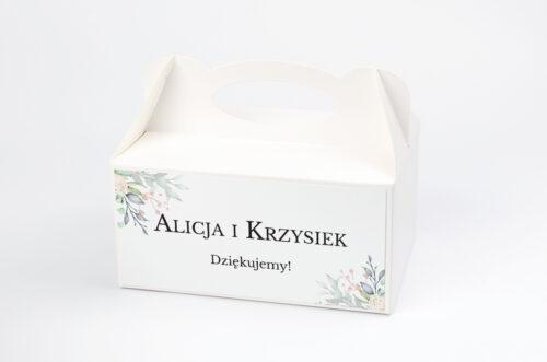 Ozdobne pudełko na ciasto Jednokartkowe Recyklingowe - Róż i fiolet