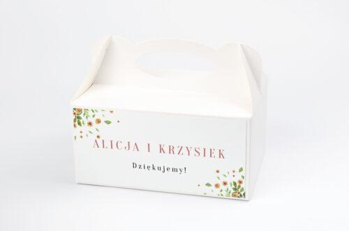 Ozdobne pudełko na ciasto Jednokartkowe Recyklingowe - Rozrzucone kwiaty