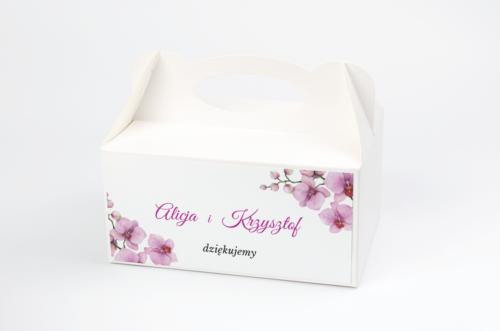 pudełko na ciasto w fioletowe storczyki