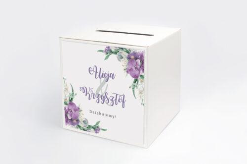 Pudełko na koperty Jednokartkowe Recyklingowe - Fioletowy bukiet