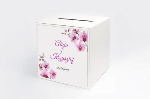 pudełko na koperty w fioletowe storczyki