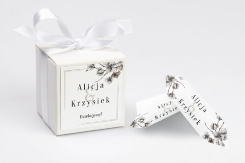 Ozdobne pudełeczko z personalizacją Jednokartkowe Recyklingowe - Kwiaty bawełny