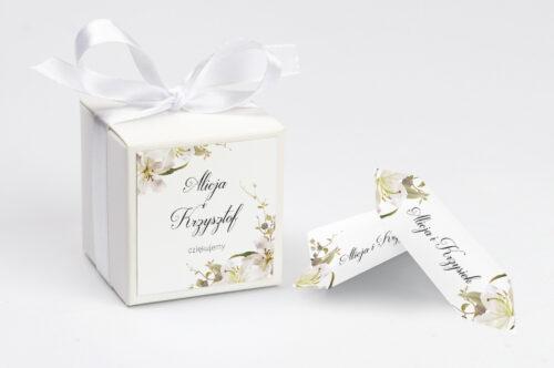 Pudełeczko z personalizacją Jednokartkowe Recyklingowe - Eleganckie lilie