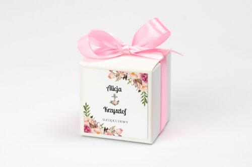 personalizowane pudełko na krówki kwiaty z kotwicą