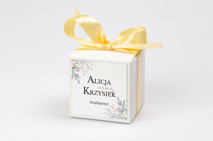 Ozdobne pudełeczko z personalizacją Jednokartkowe Recyklingowe - Róż i fiolet