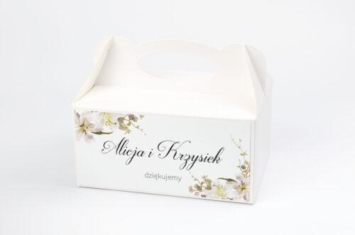 Ozdobne pudełko na ciasto Jednokartkowe Recyklingowe - Eleganckie lilie