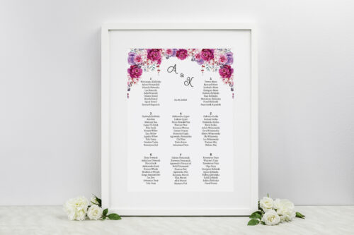 tablica gości w fuksjowe kwiaty