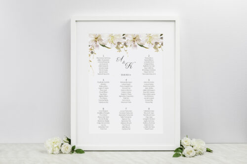 Plan stołów weselnych do zaproszenia Jednokartkowe Recyklingowe - Eleganckie lilie