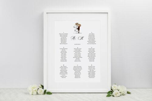 Plan stołów weselnych - do zaproszenia Lolki w objęciach
