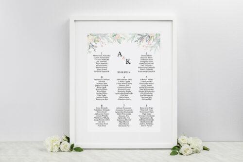 Plan stołów weselnych do zaproszenia Jednokartkowe Recyklingowe - Róż i fiolet