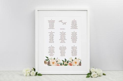 Plan stołów weselnych do zaproszenia Jednokartkowe Recyklingowe - Ciepłe kolory