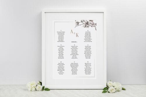 Plan stołów weselnych do zaproszenia Jednokartkowe Recyklingowe - Kwiaty bawełny