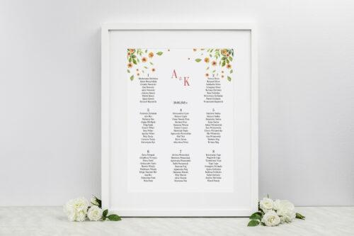 Plan stołów weselnych do zaproszenia Jednokartkowe Recyklingowe - Rozrzucone kwiaty